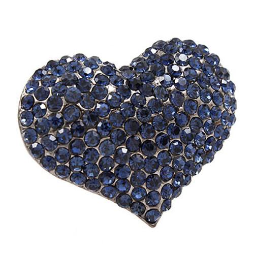 Crystal Pave Beautiful Heart Stretch Adjustable Ring Valentine Hematite Blue