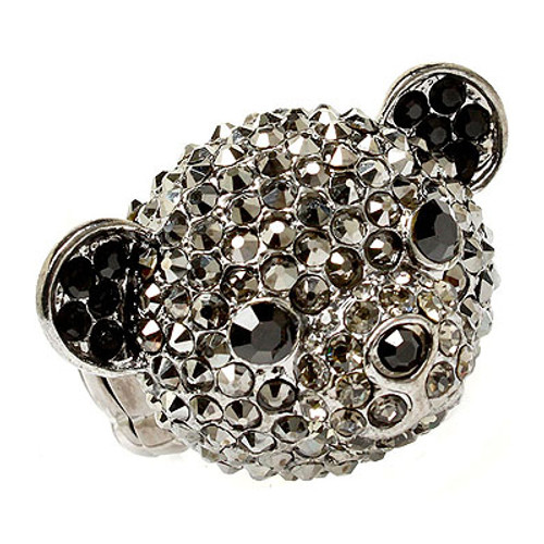 Bear Head Crystal Animal Stretch Adjustable Fashion Ring Hematite Black