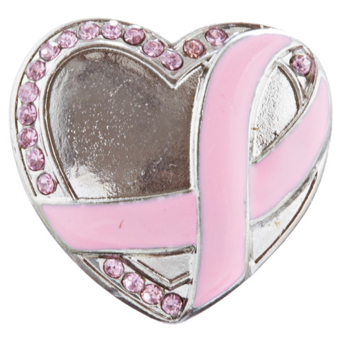 Pink Ribbon Breast Cancer Awareness Jewelry Crystal Enamel Heart Stretch Ring