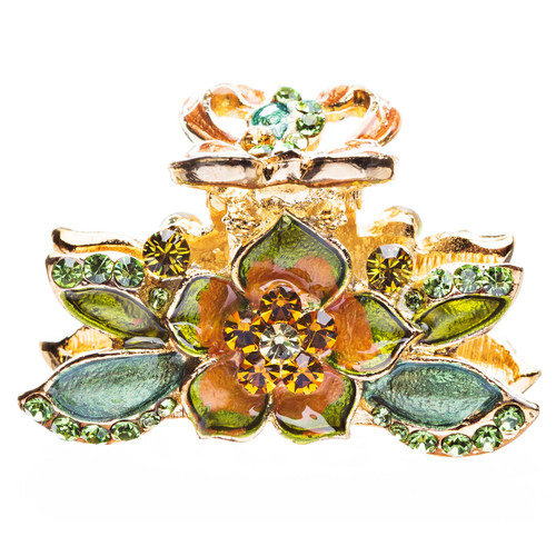 Austrian Crystal Hair Claw Clip Jewelry Gold Green