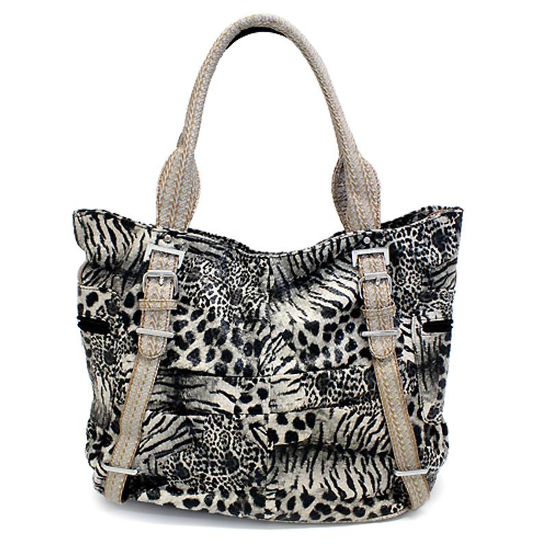 030d4bafb8a6 Multi Animal Print Leopard Zebra Giraffe Faux Leather Tote Handbag Bag Beige
