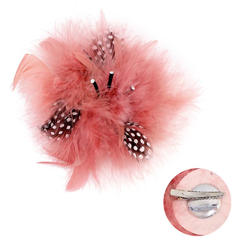 Accessoriesforever Feather Big Flower Corsage Fashion Brooch 2 Way