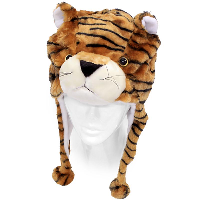 321cf2144a7 Plush Soft 3D Animal Trooper Trapper Hat Ear Flaps Fleece Liner Brown Tiger