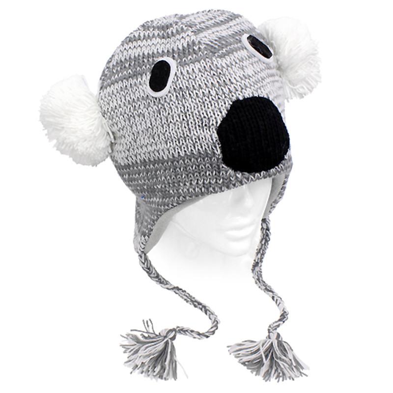 1f0053fe054 Knitted 3D Animal Trooper Trapper Hat Ear Flaps Braided Tassels Gray Koala