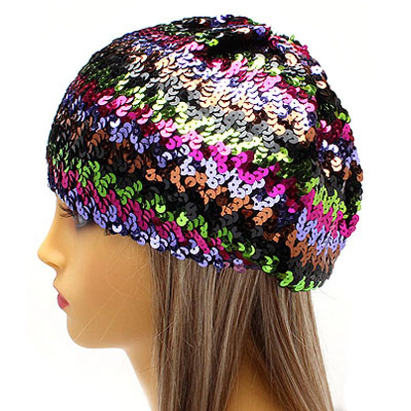 a32a9ce8d3f24 Sparkle Glitter Sequin Lightweight Fashion Beanie Hat Multi-Colored Purple