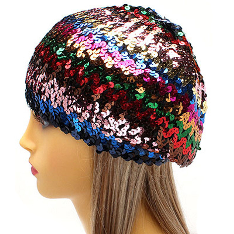 0ba5fd090a0 Sparkle Glitter Sequin Lightweight Fashion Beanie Hat Multi-Colored Red