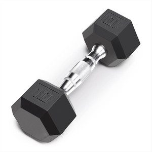The Marcy 10 LB. Rubber Hex Dumbbell IBRH-010 is the best free weight for your high intensity interval body building training