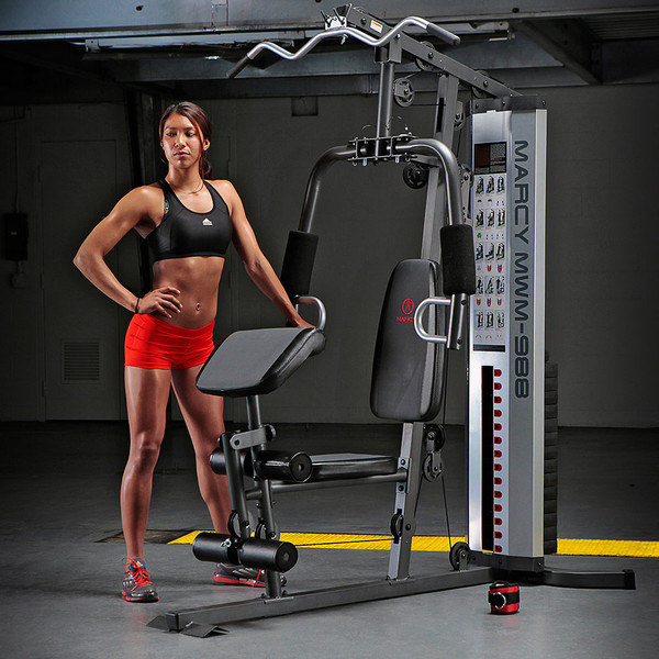 The Marcy 150 Lb Weight Stack Home Gym - MWM-988 with female model