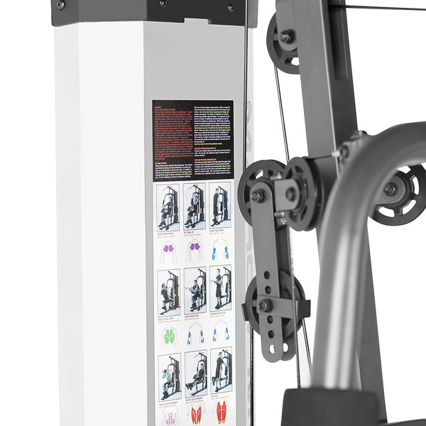 The Marcy 150 Lb Weight Stack Home Gym - MWM-988 includes a workout chart