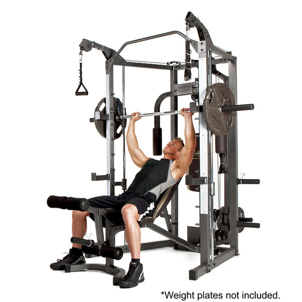 The Marcy Smith Machine SM-4008 in use - inclined bench press