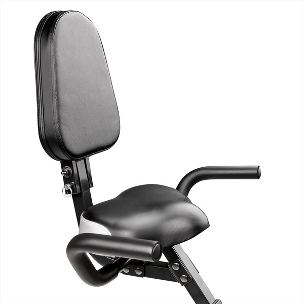 The Marcy Foldable Exercise Bike with High Back Seat NS-653 has handles on the seat so the user can use it like recumbent bike