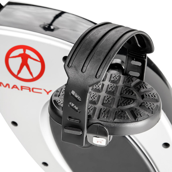 The Marcy Foldable Exercise Bike with High Back Seat NS-653 has pedal loops to secure your feet