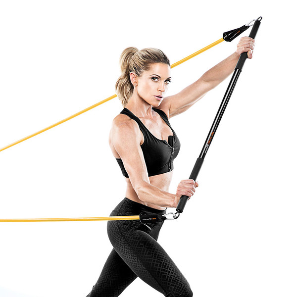 Bionic Body BBEB-020 Exercise Bar in use by Kim Lyons to optimize her HIIT conditioning