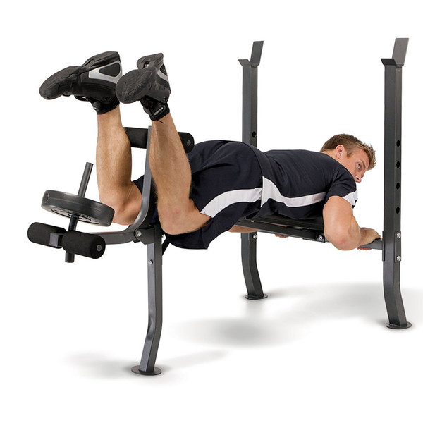 The Standard Bench with 100lb Weight Set Marcy Diamond Elite MD-2082W in use - leg curls