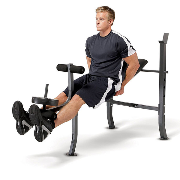 The Standard Bench with 100lb Weight Set Marcy Diamond Elite MD-2082W in use - leg extensions