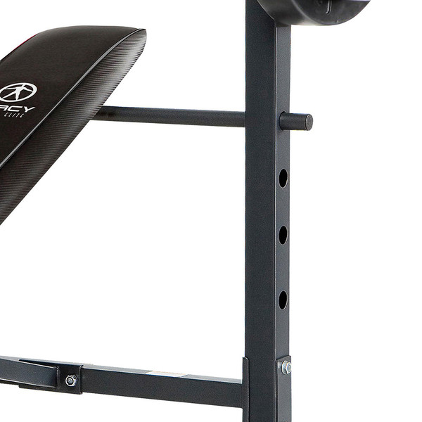The Standard Bench with 100lb Weight Set Marcy Diamond Elite MD-2082W is adjustable - workout inclined declined and flat