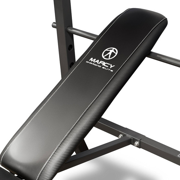 The Standard Bench with 100lb Weight Set Marcy Diamond Elite MD-2082W has thick padding to bring you comfort during your intense workouts