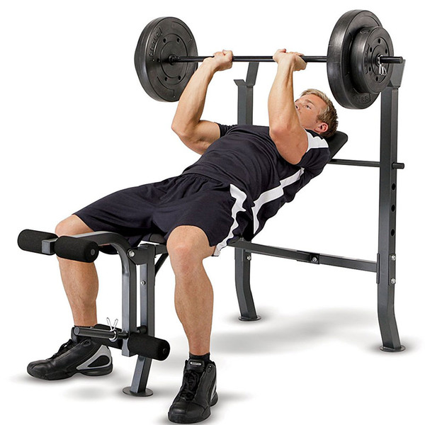 The Standard Bench with 100lb Weight Set Marcy Diamond Elite MD-2082W in use - inclined bench press