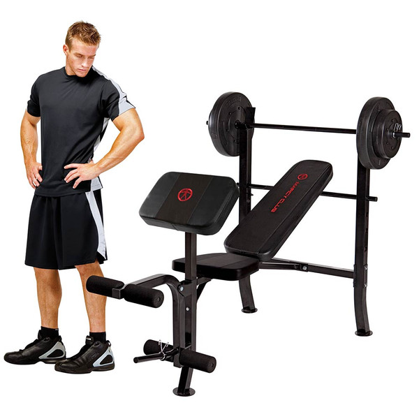 Model next to the Standard Bench with 80lbs Weight Set MKB-2081