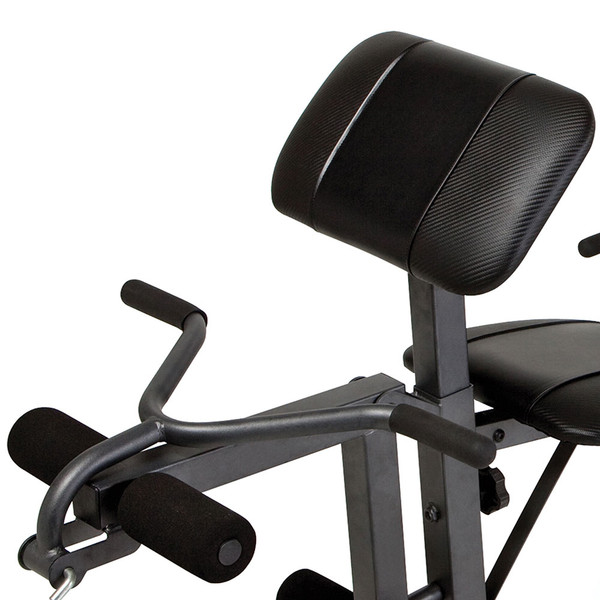 The Marcy Diamond Elite Standard Weight Bench MD-389 includes a leg developer and curl bar for a varied workout
