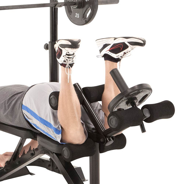 The Marcy Club Deluxe Mid Size Bench MKB-869 in use - leg curls