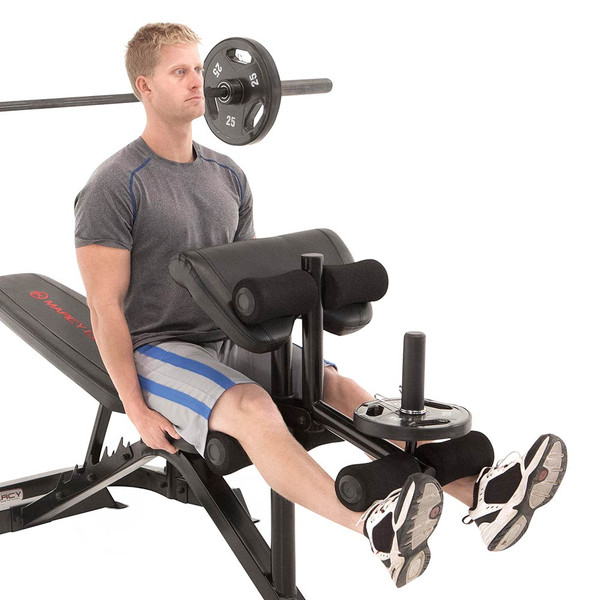The Marcy Club Deluxe Mid Size Bench MKB-869 in use - leg extensions