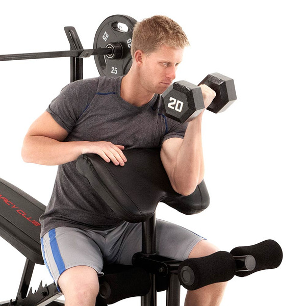 The Marcy Club Deluxe Mid Size Bench MKB-869 in use - dumbbell preacher curls