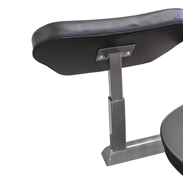 The Folding Standard Weight Bench Marcy MWB-20100 has a storage post for the Preacher curl pad