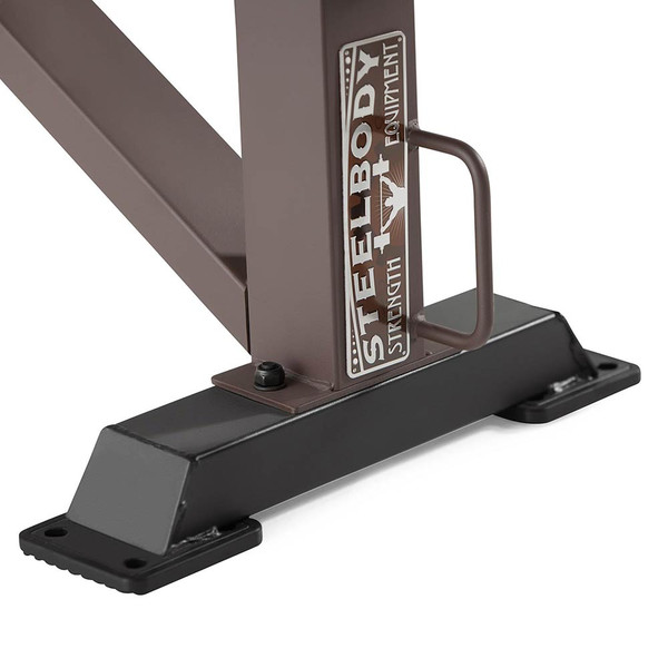 The SteelBody Flat Bench STB-10101 includes a handle to easily move the bench around