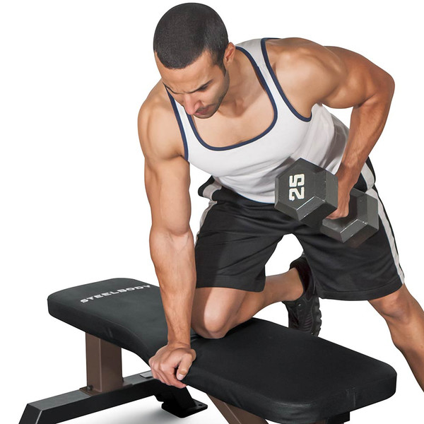 The SteelBody Flat Bench STB-10101 in use - one arm rows