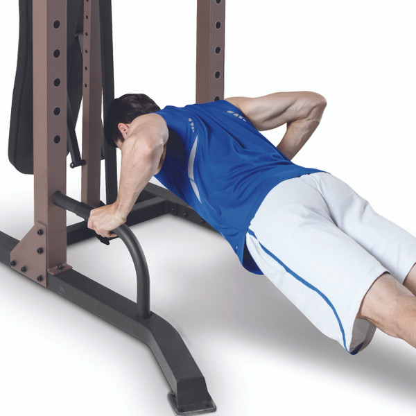 The Steelbody STB-98502 Power Tower with Foldable Bench in use - push up