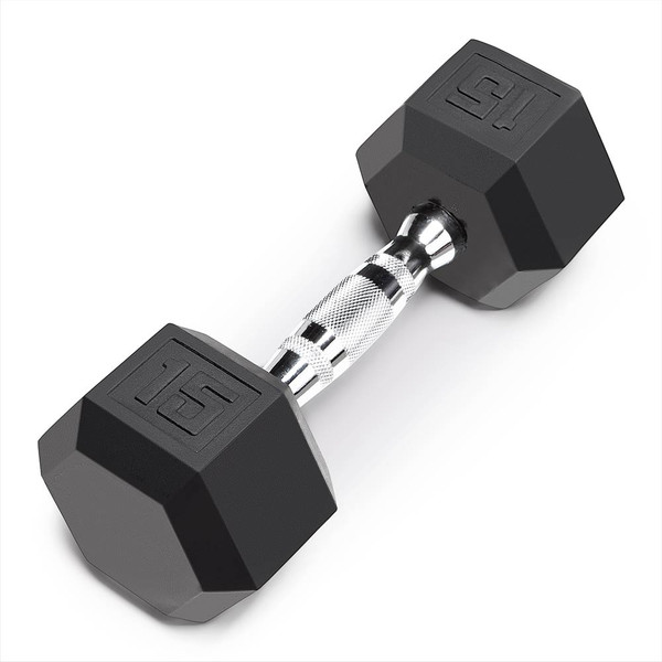 The Marcy 15 LB. Rubber Hex Dumbbell IBRH-015 is the best free weight for your high intensity interval body building training