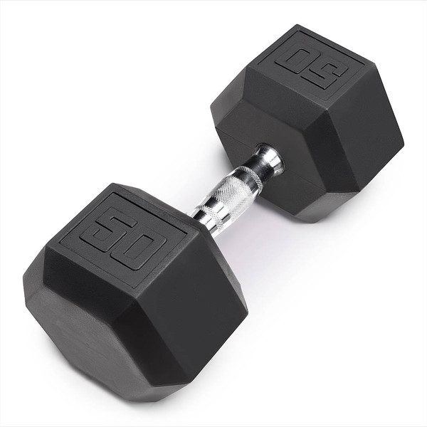 The Marcy 50 LB. Rubber Hex Dumbbell IBRH-050 is the best free weight for your high intensity interval body building training
