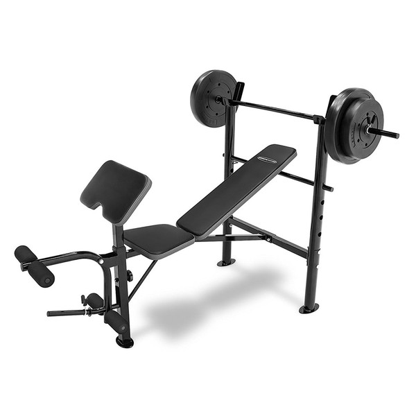 The Combo Bench with 80 lbs Weight Set CB-20110 by Competitor is a complete weight and bench set ready for home gym use