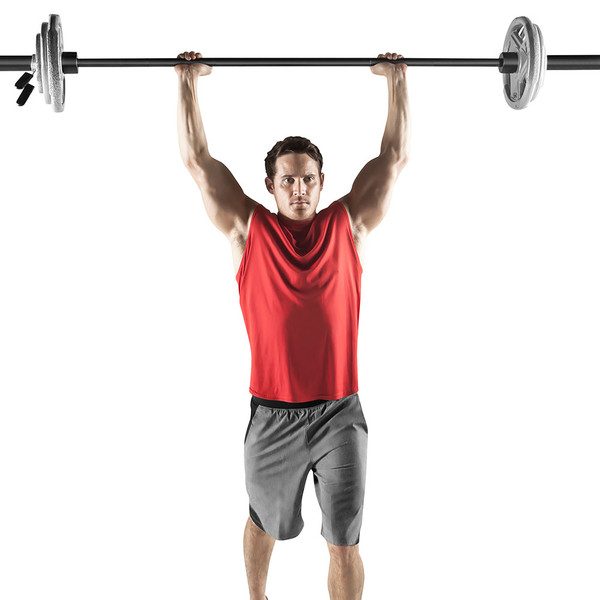 110 lbs. Olympic Weight Set by Marcy will complete your home gym in use - overhead press