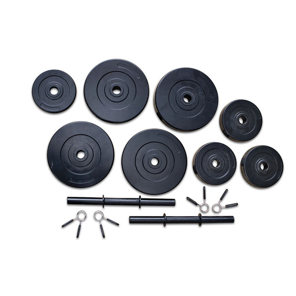 Varied size plates for the 40 lbs. Vinyl Dumbbell Weight Set by Marcy will complete your home gym