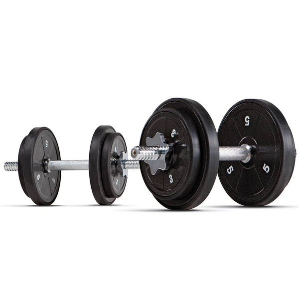 The ECO Iron 40 Lb. Adjustable Dumbbell Set with Case by Marcy will target your biceps, triceps, pecs, and more