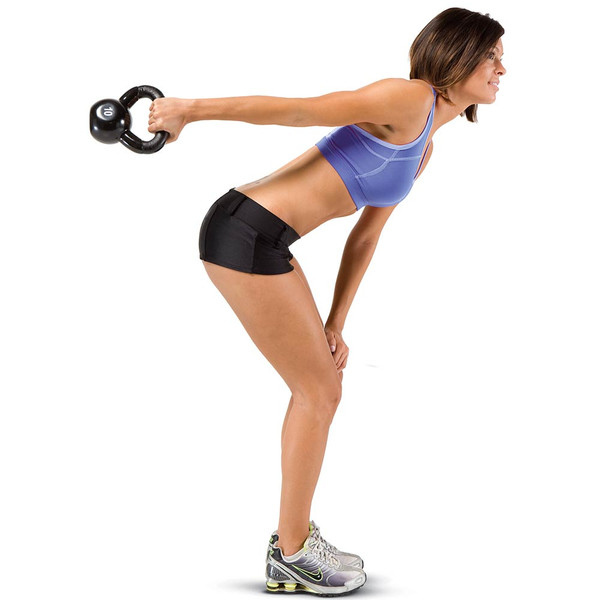The 50 lbs. Kettle Bell Set by Marcy in use - HIIT Kettle Bell swings for conditioning