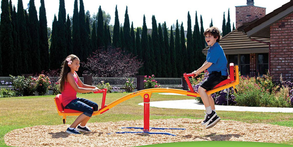 The  Gym Dandy Spinning Teeter Totter TT-360 Seesaw Play Set in use