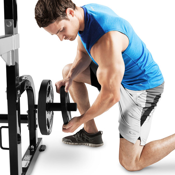 The Marcy Half Cage Rack SM-8117 includes pegs to convenient store weight plates