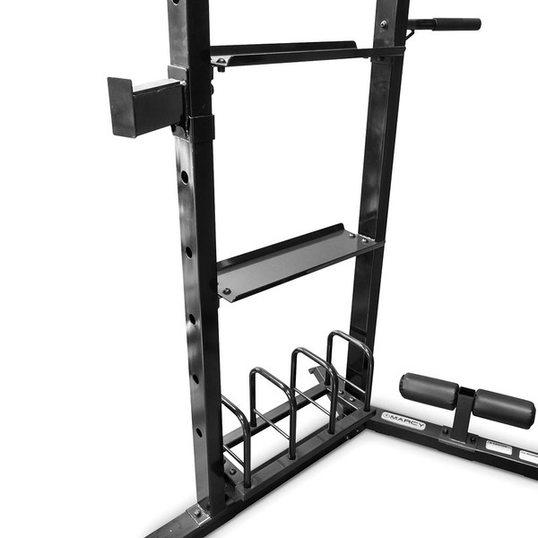 The Marcy Cage System SM-3551 includes a storage space for weights