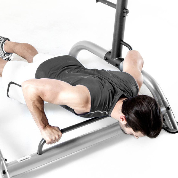 The Power Cage MWB-70500 push-up bar in use