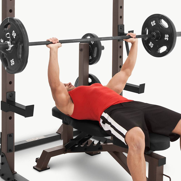 The Squat Rack Base Trainer SteelBody STB-70105 in use - bench press