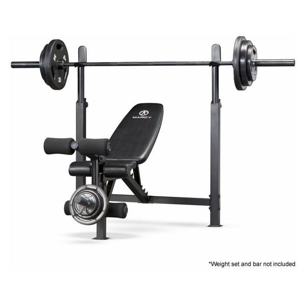 The Marcy Olympic Bench with Rack | MWB-732 by Marcy adds variety to your workout with incline, decline, flat and Military positions