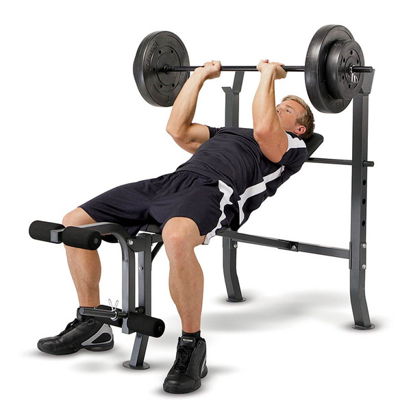 The Marcy Weight Bench 80lb Weight Set MD-2080 in use - inclined bench press