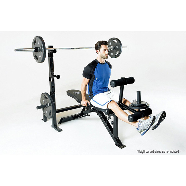 The Marcy Olympic Weight Bench PM-70210 in use - leg extension