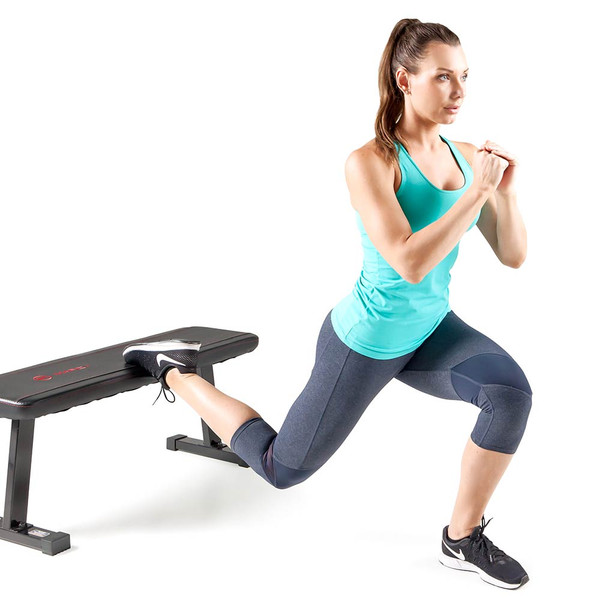 The Utility Flat Bench Marcy SB-315 in use by model
