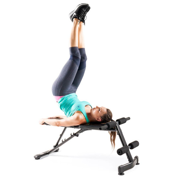 The Marcy Multi-Purpose Bench SB-228 in use - leg raises