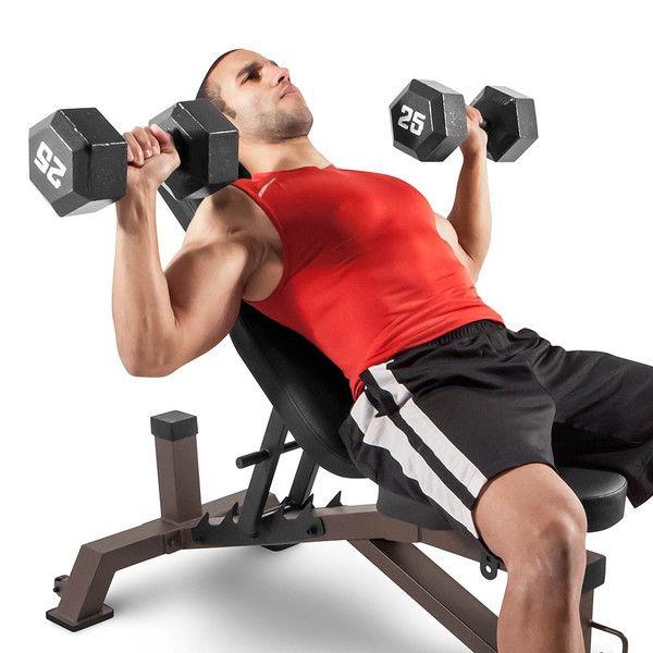 The Utility Bench STB-10105 by SteelBody in use - dumbbell incline press
