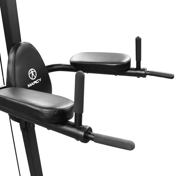 The Power Tower Marcy TC-3508 includes padded VKR bars and rubber grips for triceps dips